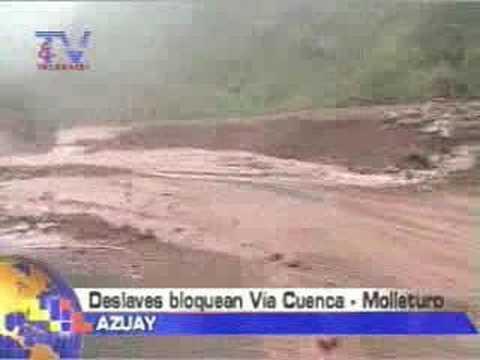 Deslaves bloquean vía Cuenca-Molleturo