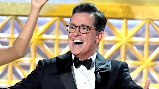 Stephen Colbert Opens 2017 Emmys With Trump Jabs, Musical Number, Chance The Rapper
