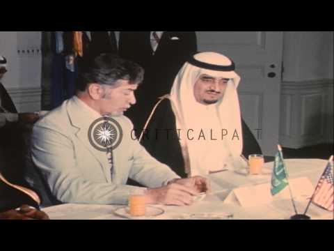 Prince Fahd of Saudi Arabia meets US Secretary of Defense, James R. Schlesinger i...HD Stock Footage