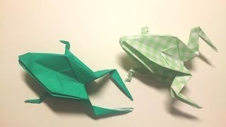 Great Origami-how to make paper frog-暮らしを彩る、すてきなおりがみ雑貨-カエルの折り方-