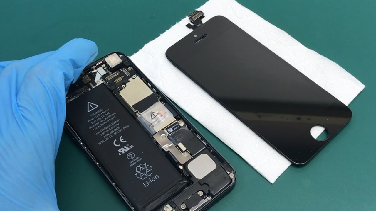 How to replace glass on iphone 5 their hands - on glue LOCA - YouTube
