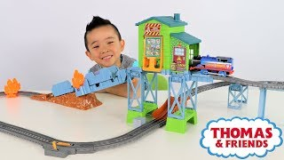 Thomas Fiery Rescue Set Motorized Train Track Unboxing Fun With Ckn Toys