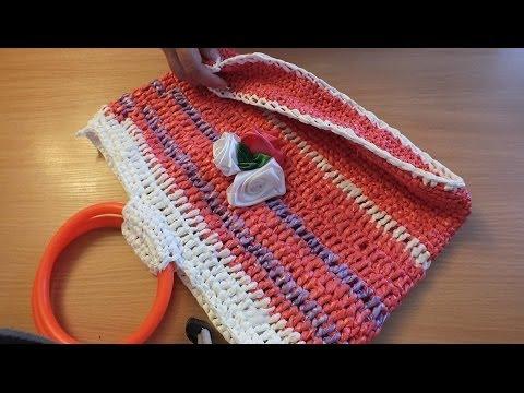 №2 Вязание из целлофановых пакетов Сумка из пакетов Crochet Bag