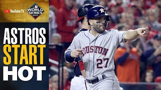 Astros start HOT in World Series Game 4 (Alex Bregman, Yuli Guriel drive in runs in 1st inning)