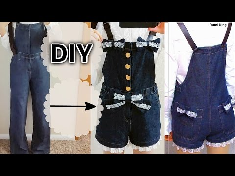 DIY Lace Denim Overalls   DIY Upcycle Your Old Clothes   Easy Sewing for Beginners + Review