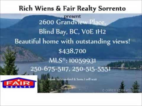 For Sale: 2600 Grandview Place, Blind Bay, BC, Canada