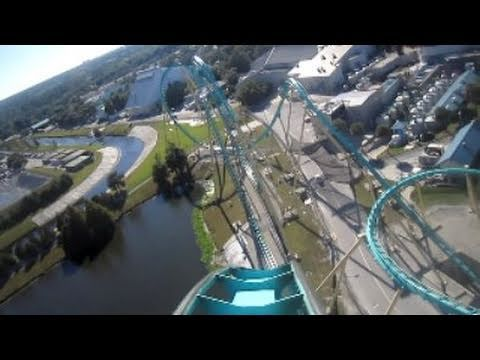 Kraken Front Seat on-ride HD POV Seaworld Orlando