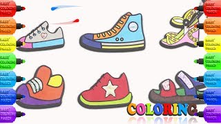 Children's Shoes Coloring with Glitters | Learning Colours and Drawing. Baby Coloring