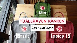 Fjallraven Kanken Classic, Mini and Laptop 15 Backpack Comparison | Tekuben.com