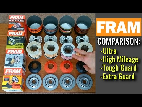 FRAM Oil Filters Cut Open!  Extra Guard vs Tough Guard vs High Mileage vs Ultra Synthetic
