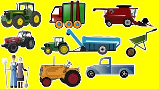FARM VEHICLES For Children - Kids Learning Video, Tractor Loader Harvester Pickup Van Farmers