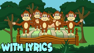 Five Little Monkeys Jumping On The Bed WITH LYRICS | Nursery Rhymes And Kids Songs