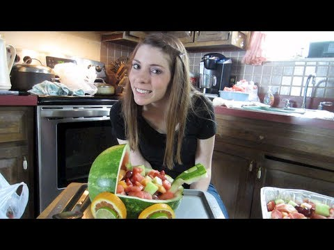 How To Make Fruit Centerpieces! Fruit Baby Carriage! Baby Shower Idea!