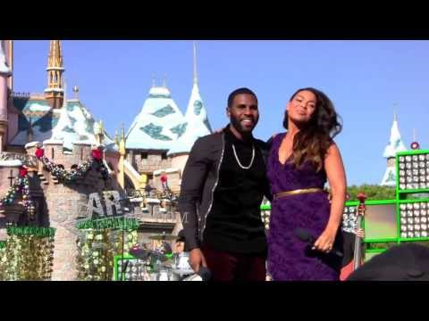 Jordin Sparks and Jason Derulo film a special performance for the Christmas Day Parade at Disneyland