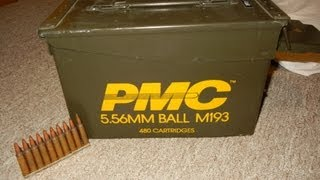 AMMO FIND DURING THE 2013 AMMUNITION SHORTAGE - PMC 5.56 MM BALL M193 ( BROWN BOX )  NOT .223 CAL
