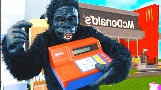 Pretend play mokey steals Mcdonalds Cash register