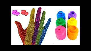 Je PEINS MES MAINS Apprendre les couleurs - Les meilleurs jouets Kinetic Sand Play Doh Slime