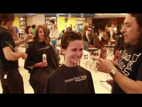 An excited young lady gives up her hair for Locks of Love - part 1