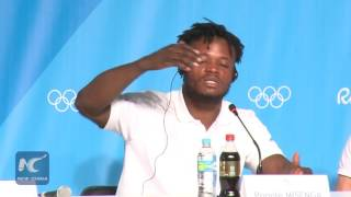 Refugee athlete bursts into tears at Olympic press conference