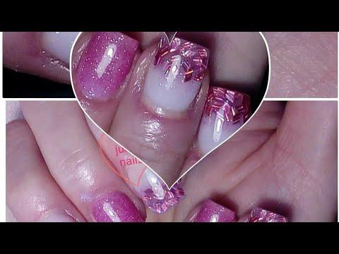 Pink glitters gel nails- růžové gelove nehty