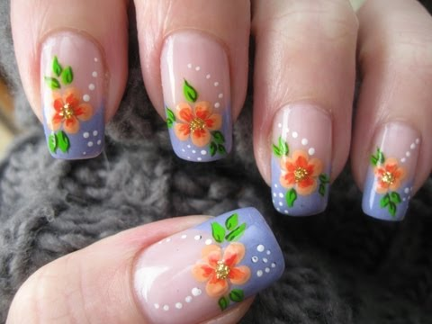 Nail art: French manicure with flower
