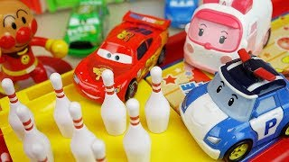 Robocar Poli car toys and Bowling game with cars truck and surprise eggs play