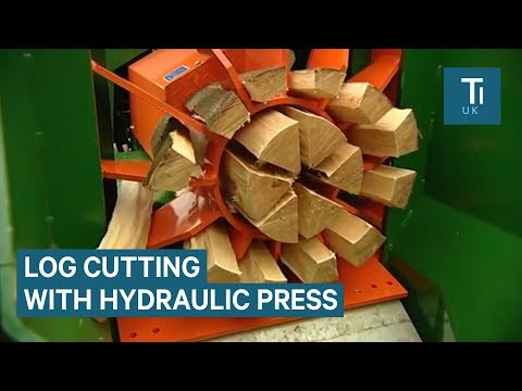 This hydraulic log-splitter cuts wood with ease