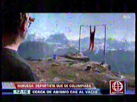 Joven acróbata noruego se cae 1000 metros a un precipicio