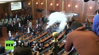 RAW: Opposition MPs release teargas in Kosovo parliament