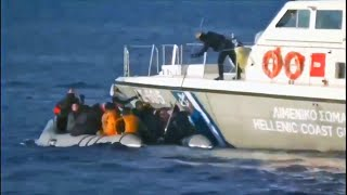 video: Greek coastguard fires shots towards refugee boat in Aegean as tensions with Turkey soar