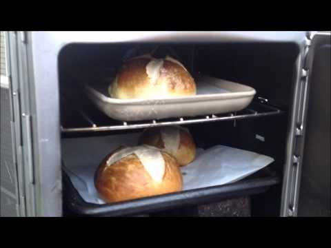 Silverfire Rocket Stove Baking Pretzel Rolls in a Coleman Camp Oven