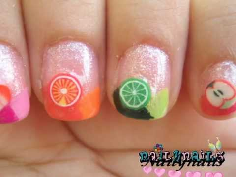 Easy Simple Fimo Fruit Nail art - Diseño de Uñas Fácil Frutas de Fimo