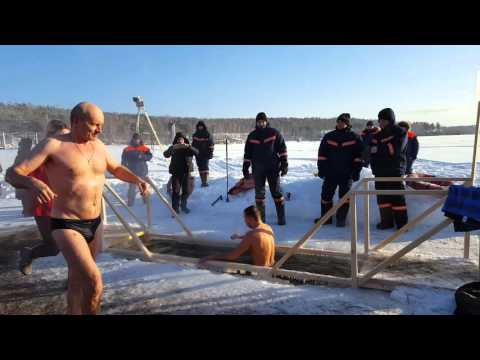 Epiphany dip in Winter below minus 30 Celsius degree -- Russia Life - Novosibirsk