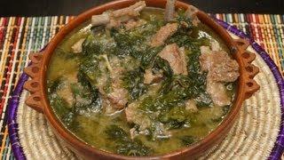 Ethiopian Food - Lamb & Spinach recipe Gomen be Sega - Injera Berbere Tibs Wot Kitfo