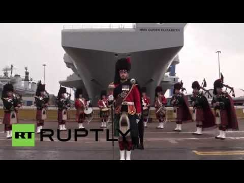 UK: Queen Elizabeth attends ceremony of Navy's largest warship