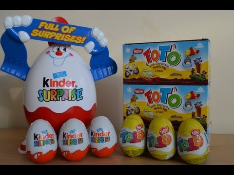 Kinder Surprise Eggs vs Nestle ToTo Surprise Eggs Looney Tunes Toys Easter Eggs