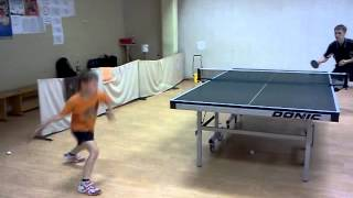 Fast topspin training. 9 years old boy