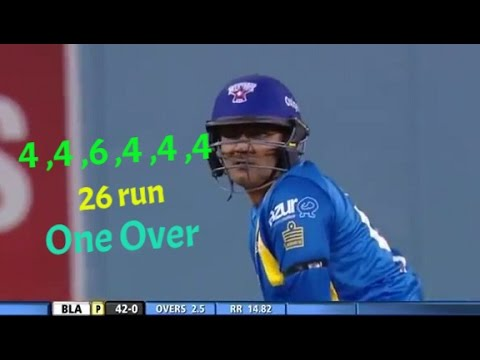 4 4 6 4 4 4 Virender Sehwag Hit 26 Run In One Over !
