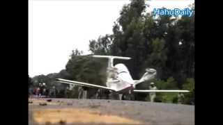 The second test flight of a handmade airplane in Ethiopia
