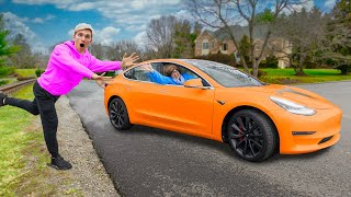MYSTERY NEIGHBOR STEALS TESLA after ENTERING SHARER FAM HOUSE to meet MOMMA SHARER!!