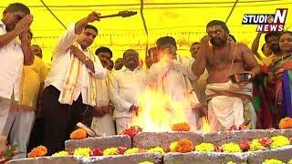 Minister Nara Lokesh lays foundation Stone for Autonagar TDP Office