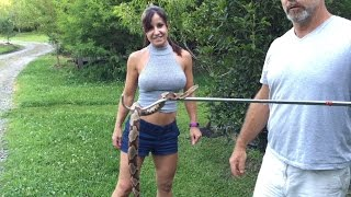 How to catch a venomous snake. Farm Girl nearly bitten by copperhead snake while mowing!