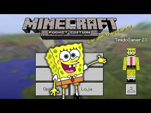 BoB Esponja no Minecraft Pocket Edition - NOVA SKIN E MICRO BATALHAS