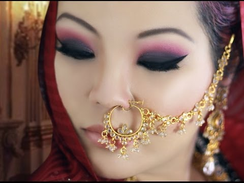 Coral and Black Smokey Eye Makeup Tutorial for Monolids - Asian / Indian Bridal