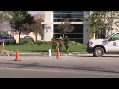Gas Line Break & Leak / Riverside   RAW FOOTAGE