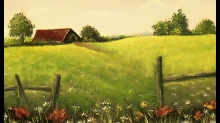 How to Paint an EASY Farmhouse Landscape with Acrylic Paint, Lesson 1 Step by Step