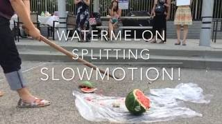 Watermelon splitting slow-motion *Foster city/Calif