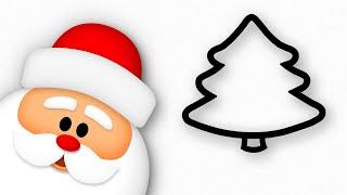 Christmas Tree & Santa Claus drawing   Happy New Year kids!