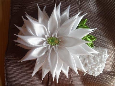 Праздничная Астра . Повязочка для волос Канзаши / aster flowers kanzashi