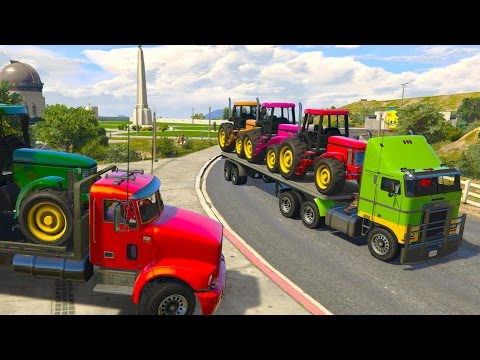 Colors TRACTOR Transportation on Truck Spiderman Superheroes Toilet Prank Cartoon for Kids